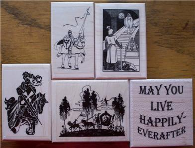 LOT OF 5 NEW RUBBER STAMPS-KNIGHTS, CASTLES, CARRIAGE