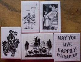 LOT OF 5 NEW RUBBER STAMPS-KNIGHTS, CASTLES, CARRIAGE - $29.70