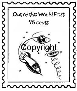 OUT OF THIS WORLD ROCKET POSTOID mounted rubber stamp