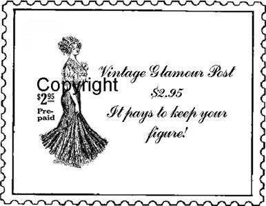 VINTAGE GLAMOUR GIRL POSTOID new mounted rubber stamp