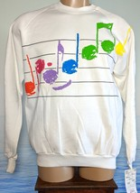 Vintage Jerzees Sweatshirt White Large Music USA 50/50 NEW w/ Tags Notation - $38.61