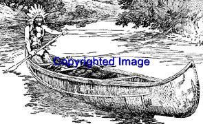 NATIVE AMERICAN CANOE-NEW RELEASE! mounted rubber stamp