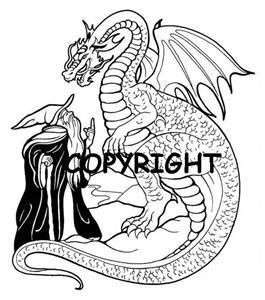 WIZARD speaking with a DRAGON NEW mounted rubber stamp
