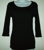 George Womens Top Size Med. 8-10 Black Rib Knit Scoop Neck 3/4 Sleeves  - $17.59