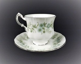 "Vintage Cup & Saucer Paragon ""Debutante"" Bone China Platinum Green Blue Roses - $14.84"
