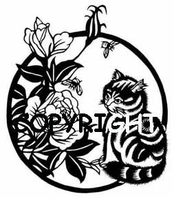 ASIAN CAT AND FLOWERS - RIGHT NEW mounted rubber stamp