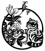 ASIAN CAT AND FLOWERS - RIGHT NEW mounted rubber stamp - $8.00