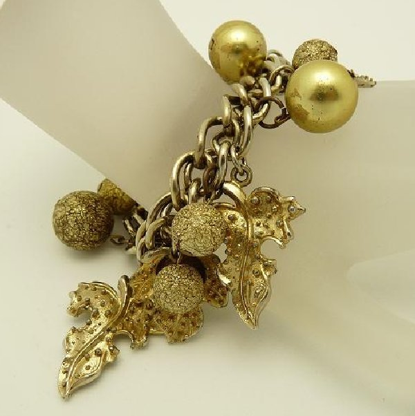 Vintage Jewelry Charm Bracelet Leaves Balls