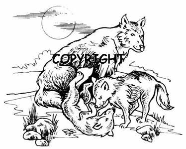 WOLF & CUBS WOLVES new mounted rubber stamp