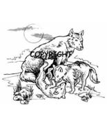 WOLF & CUBS WOLVES new mounted rubber stamp - $9.00