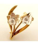 Signed SWAROVSKI Crystal Flower Brooch Swan Logo - $42.95