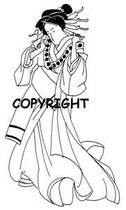 ASIAN GEISHA GIRL PLAIN KIMONO new mounted rubber stamp