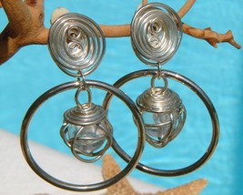 Vintage Earrings Hoop Dangle Spiral Silver Wire Wrapped Caged Crystal  - $24.95