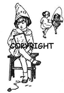 GIRL SITTING IN DUNCE CORNER NEW mounted rubber stamp
