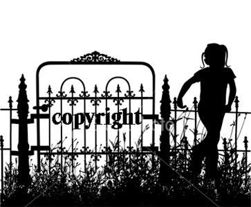 GIRL IN HER GATED YARD NEW RELEASE mounted rubber stamp