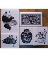 LOT OF 5 NEW MOUNTED RUBBER STAMPS-ASIAN THEME, PANDA, - $36.00