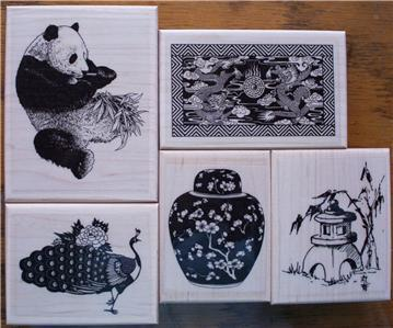 LOT OF 5 NEW MOUNTED RUBBER STAMPS-ASIAN THEME, PANDA,