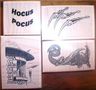 LOT 4 MOUNTED RUBBER STAMPS-MEDIEVAL DRAGON SET