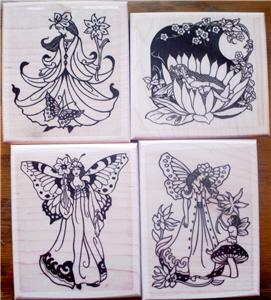 LOT of 4 MOUNTED RUBBER STAMPS-FAIRY SET