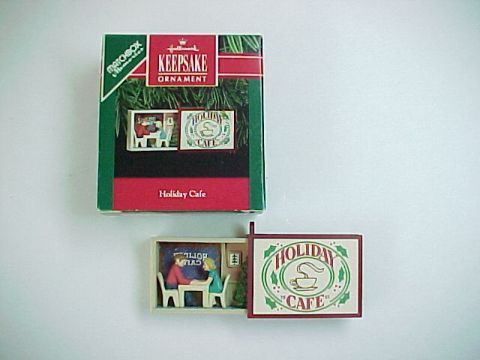 Primary image for Mini Hallmark Matchbox Memories  -Holiday Cafe- 1991 Christmas Ornament  -QX5399