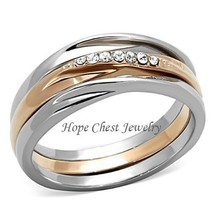 HCJ Rose Gold Tone Stainless Steel Top Grade Crystal 3 Ring Set - SIZE 7, 8 - $17.54