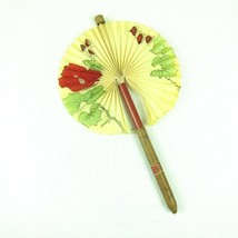 Vintage Cigar Paper Fan Pull Out Novelty 12.5 inch Red Floral Blossom Ma... - $29.99