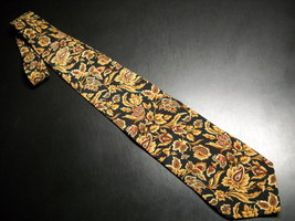 Joseph Abboud Neck Tie Italian Silk Black Brown Leaf Accent - $12.99