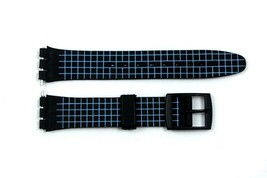17mm Neon Blue Checkered PVC Replacement Watch Band Strap fits SWATCH wa... - $12.03