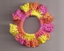 Pink Orange Yellow Crochet Ponytail Holder Handcrafted  - $2.50