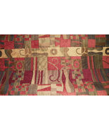 Southwest Burgundy Beige Chenille Upholstery Fabric 1 Y - $27.20