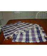 New Handcrafted Afghan/Throw in Rose Cream and Blues Plaid - $24.99