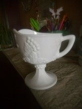 VINTAGE MILK GLASS FOOTED CREAMER GRAPES AND LEAVES PATTERN - $14.84