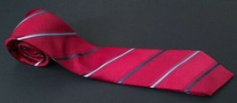 Van Heusen Striped Tie Red Gray Silver Classic Business Professional Nec... - $9.89
