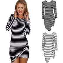 Sexy Crew Neck Striped Mini Dress - $22.00