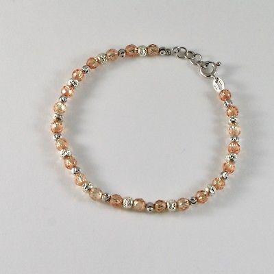 Bracelet en Argent 925 Rhodié avec des Boules à Facettes Et Zirconia Cubique -