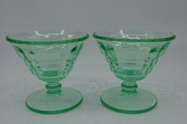 2 Anchor Hocking Block Optic Green Depression Glass Champagne Tall Sherbets - $19.99