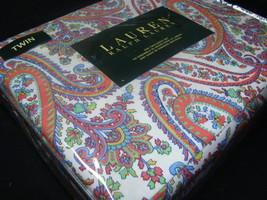 New Ralph Lauren Sheet Set twin 3 P MULTI PAISLEY ORANGE BLUE GREEN 100%... - $77.99