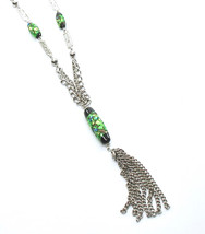 Vintage Tassle Necklace, Iridescent Beads, Green Glass Dangle Bead, Doub... - $21.00