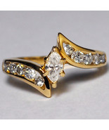 Natural Marquise Diamond Engagement Bypass Unique Ring Womens 14K Yellow... - $999.00