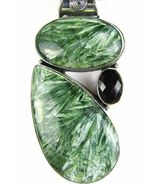 Cabochons of Natural Seraphinite and Garnet Ste... - $166.08