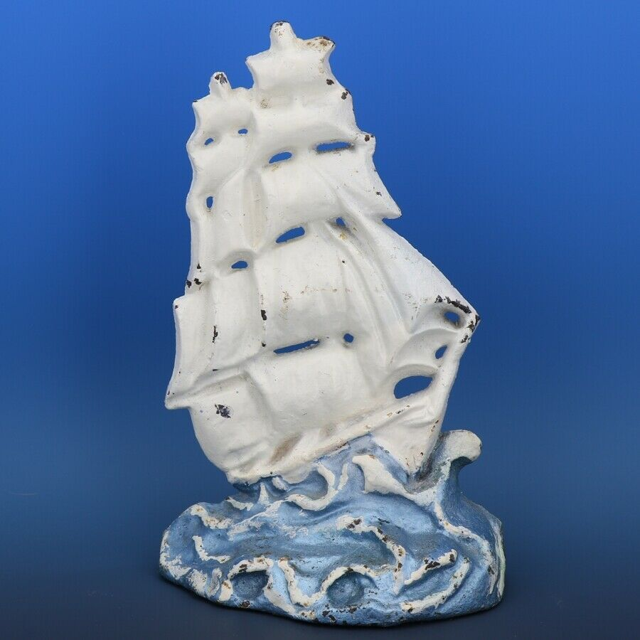 """Vintage Albany Foundry Cast Iron Galeon Clipper Ship Doorstop 9"""" Repaint"""