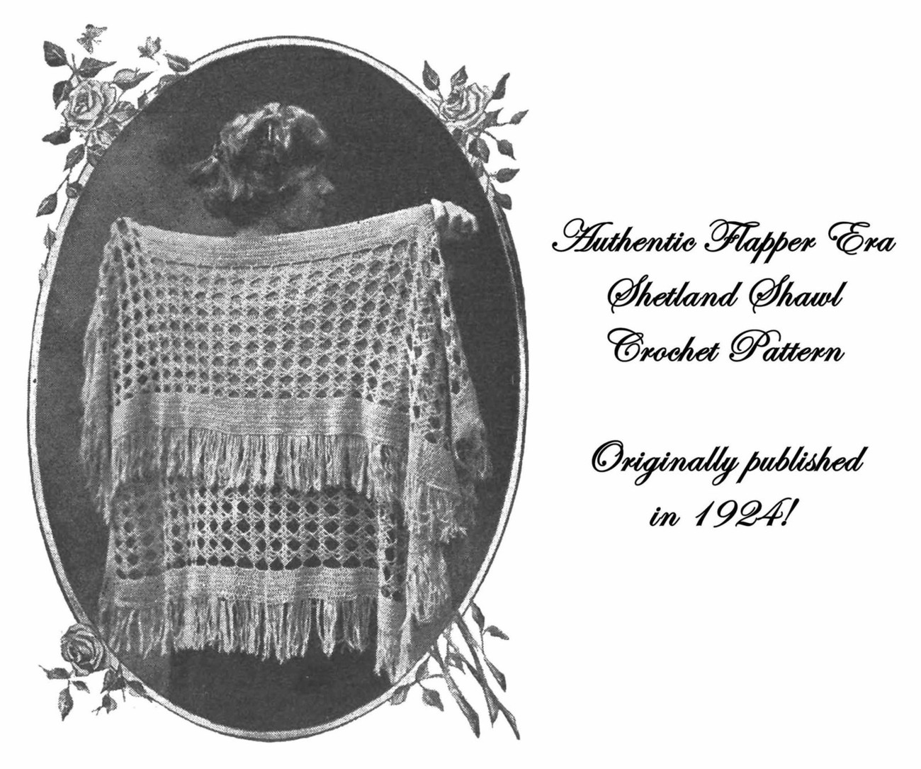 1924 Roaring 20s Flapper Crochet Square Shawl Crocheted Pattern DIY Prohibition