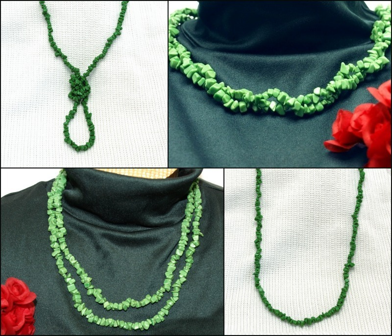 Primary image for Green Stone Necklace with Goldtone Shortening Clasp = 4 Different Styles in 1