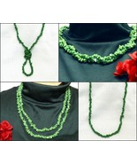 Green Stone Necklace with Goldtone Shortening C... - $29.95