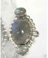 Labradorite ring one large oval 13x17mm & 2 sma... - $30.00