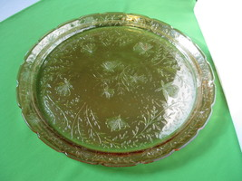 "Jeannette Glass Iridescent Floragold 13 1/2"" Indented Sandwich Platter - $52.99"