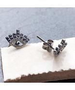 Genuine Blue Sapphire Gemstone Stud Earrings Solid 925 Sterling Silver J... - $148.67