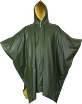 "Olive Drab & Yellow Rubberized Nylon Reversible Rain Poncho - 50"" x 80"" - $29.99"