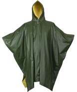 "Olive Drab & Yellow Rubberized Nylon Reversible Rain Poncho - 50"" x 80"" - $29.99"