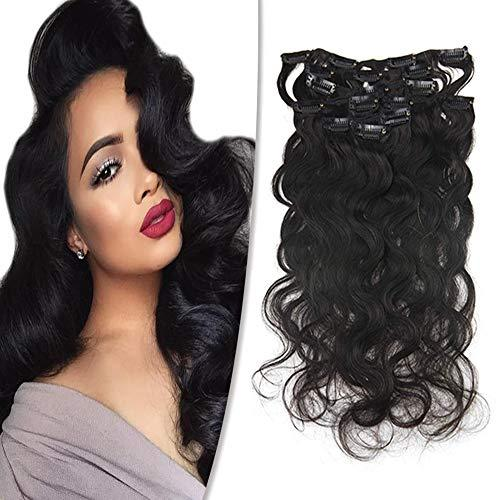 "Easyouth 8"" Natural Black Curly Clip in Extensions Body Weave 7Pcs/Set 100g Per"